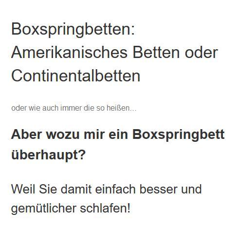 Boxspringbetten Delingsdorf - Amerikanische Betten Center: Wasserbetten, Matratzen, Lattenroste, Bettenfachgeschäft, Bettwäsche